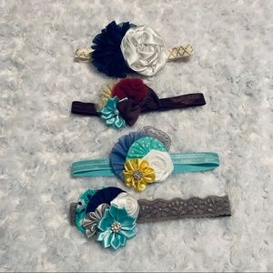 Other - Elastic Flower Headband Set of 4 (baby-kid size)